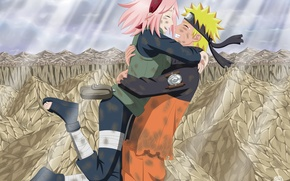 Wallpaper naruto, naruto, mountains, art, guy, anime, girl, clouds, two, light, Uzumaki naruto, tears, hanabi-rin, joy, ...