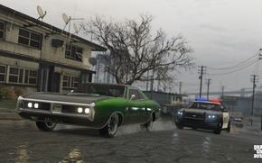 Picture road, rain, police, chase, Grand Theft Auto V, Los Santos, gta 5