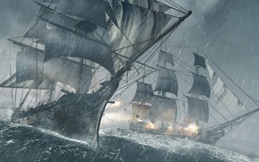 Picture sea, storm, rain, ship, Microsoft Windows, Ubisoft, shots, Xbox 360, Assassin's Creed, kernel, 2013, Ubisoft …