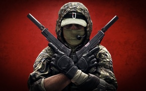 Picture weapons, background, guns, soldiers, Battlefield 4