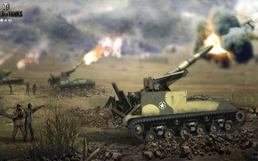 Wallpaper shots, Nikita Bolyakov, art, artillery, World of Tanks, SAU, figure, Self-propelled, installation, M40, gunfire, USA