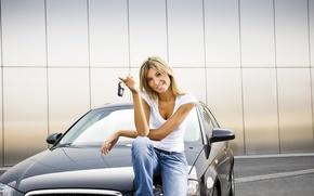 Picture auto, Audi, transport, Girl, keys