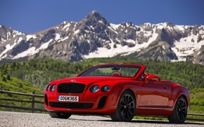 Picture mountains, red, Bentley