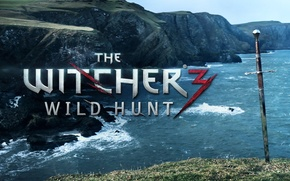 Picture sea, rocks, sword, the witcher 3 wild hunt