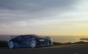 Picture Sunset, Sea, Bugatti, Bugatti, Veyron, Veyron, Blue, Supercar, Supercar, Grand Sport, Vitesse, Vitesse