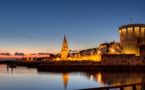 Picture the city, lights, coast, France, the evening, Bay, fortress, architecture, France, La Rochelle, Esplanade St …