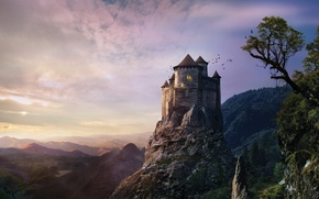 Picture the sky, trees, sunset, castle, hill, fantasy, fantasy, misty, sky, trees, sunset, hill, castle, creepy, …