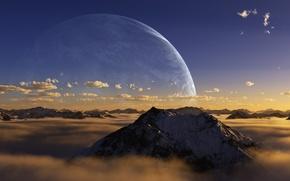 Wallpaper clouds, planet, mountain, peak, darink