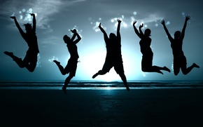 Wallpaper Freedom, people, shore, blue, jump