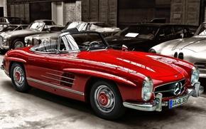Picture retro, Auto, convertible, red., Mersedes Benz 300SL