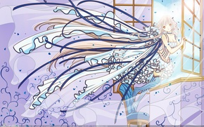 Picture girl, dress, blue, window, chii, chobits, wind, persocom