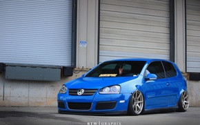 Picture volkswagen, golf, blue, tuning, germany, low, r32, stance, mk5