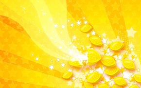 Wallpaper wave, stars, lemon, Yellow
