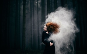 Picture forest, girl, hair, Storm, stroke
