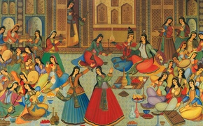 Picture music, party, dress, girls, dance, women, color, painting, paint, drink, jam, harem, iran, court, sultan, …