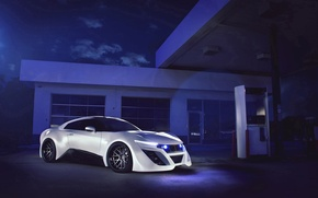 Picture white, night, dressing, column, Nissan, white, GT-R, Nissan, front, gas stations, kit, Team Galag, Galag …