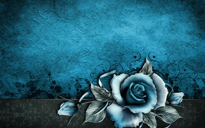 Picture vintage, floral, paper, background, blue, rose, grunge, texture, texture, paper, wallpaper, rose, vintage
