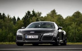 Picture road, auto, trees, Audi R8 V10