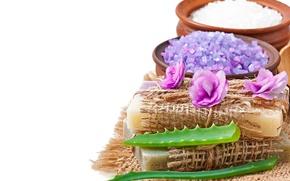 Picture soap, flowers, lavender, spa, salt, natural, aloe
