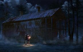 Picture night, house, fear, girls, art, lantern, abandonment, gloom, arsenixc