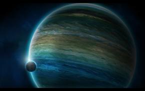 Wallpaper planet, satellite, the atmosphere, gas giant