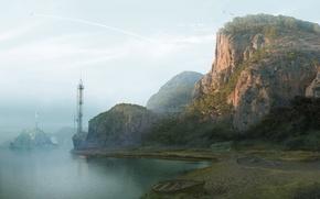 Wallpaper antenna, shore, boat, mountains