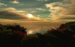 Wallpaper sea, clouds, sunset
