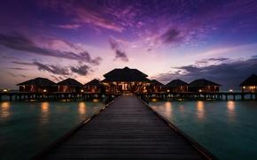 Picture sunset, the ocean, pierce, Bungalow, Maldives, Anantara Resort, Anantara Veli Resort and Spa