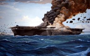 Wallpaper sea, the plane, fire, war, smoke, ship, the carrier