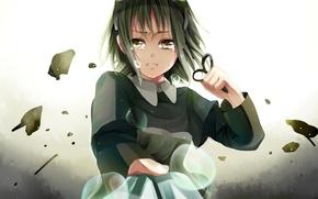 Picture girl, tears, art, vocaloid, Vocaloid, scissors, gumi, kuribayashi