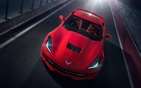 Picture Corvette, Chevrolet, Red, Car, Front, Sport, Stingray, Track, 2014