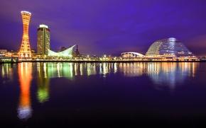 Picture the sky, night, the city, lights, Strait, building, tower, Japan, lighting, port, purple, Honshu, Kobe