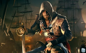 Picture pirate, assassin, Edward, Assassin's Creed IV: Black Flag, black flag