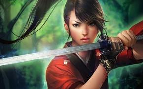 Picture girl, magic, blood, sword, katana, art, tail, glove, sakimichan, sato