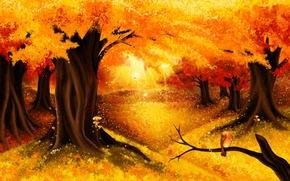 Picture autumn, forest, nature, art, Golden autumn