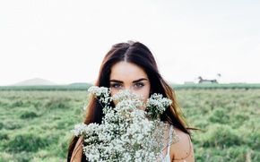 Picture the sky, field, girl, bokeh, brunette, makeup, hairstyle, portrait, look, flowers