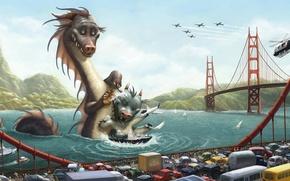 Picture road, bridge, Dragon