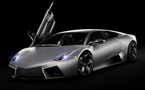 Picture Lamborghini, Reventon, supercar, black background, the front, Lamborghini, Reventon