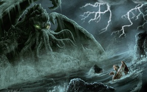 Picture sea, boat, monster, dog, Cthulhu, tentacles, girl, cthulhu, Douglas A. Sirois