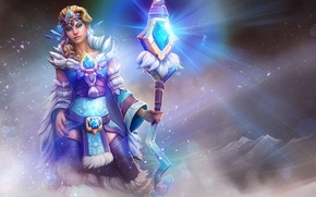 Picture girl, staff, dota 2, crystal maiden, Frost Bringer