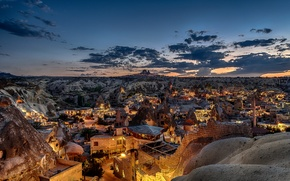 Picture the sky, mountains, lights, rocks, home, the evening, Turkey, Cappadocia