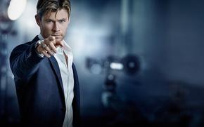 Picture look, advertising, Gavin Bond, Chris Hemsworth, shirt, brand, blur, gesture, actor, jacket, bokeh, TAG Heuer, ...