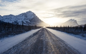 Picture road, snow, mountains, morning