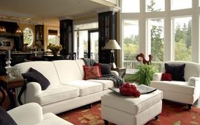 Picture white, design, room, sofa, Windows, interior, living room, furniture. pillow