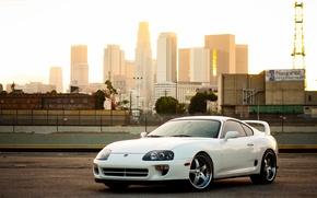 Picture the city, railroad, white, white, supra, toyota, Toyota, railway, supra