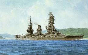 Picture Navy, ship, art, Japanese, WW2, Yamashiro, military, battleship, IJN, battleship