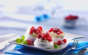 Picture raspberry, food, cream, dessert, sweet, cream, dessert, mint, red currant, raspberries, red currants
