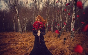Picture flowers, girl, autumn