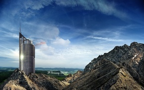 Wallpaper skyscraper, the sky, mountains, Dreamy World