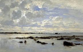 Picture clouds, picture, seascape, Carlos de Haes, Tide